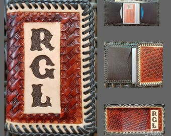 NEW! Personalized HandTooled Weave Pattern Trifold Leather Wallet, Vinyl Photo Insert/4 Pocket Leather Interior, Chestnut Dye, HandLaced
