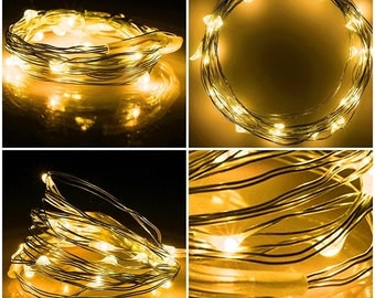 LED Fairy Lights, Warm White Lights Copper Wire, Christmas Lights, Wedding Decor, 6.6 ft, 2 meters
