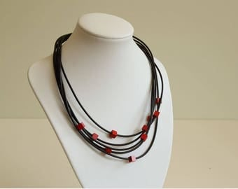 Design Necklace Black Rubber with Wooden Red Cubes ca. 1980s