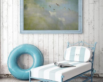 Hiking Lust birds geese Sky vintage retro fine art print poster canvas canvas from 45 x 30 cm