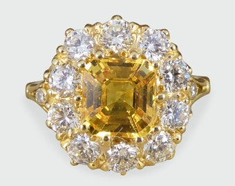 Yellow Sapphire and Diamond Cluster Engagement Ring in 18ct Yellow Gold RG541