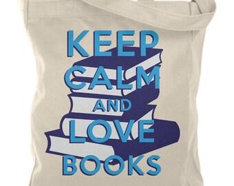 Keep Calm & Love Books Natural Canvas Tote Bag