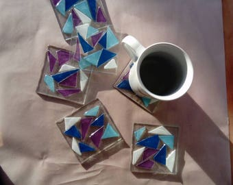 Cool color glass coasters