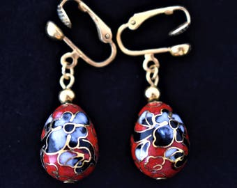 Vintage Red Cloisonné Enamel Flower Floral Egg Shape Earrings Clip On Delicate Retro Costume Estate Jewelry 1.5""