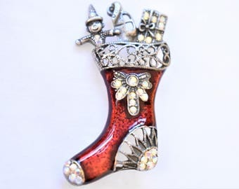 """Vintage Red Enamel Christmas Holiday Toy Stocking Statement Brooch Coat Sweater Scarf Pin Rhinestone Retro Costume Jewelry 2"""""""