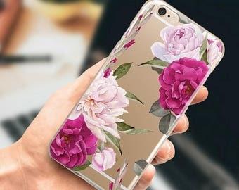 iPhone 6 case clear iPhone 7 Plus transparent case, iPhone 6s Plus Case, iPhone 5s, SE floral case. Hard plastic or rubber case.