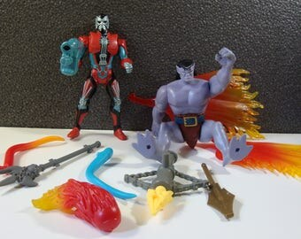 Collection of Kenner Gargoyles Early 90s Action Figure Parts and Accessories with Xanatos & Goliath