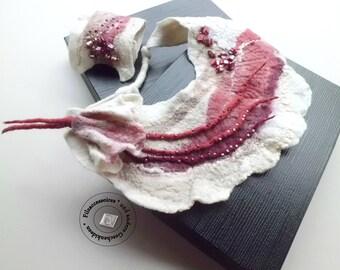 Felt jewelry outstanding necklace collar wrist warmers felted gift idea easter mother day women sister wife girlfriend OOAK