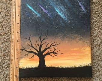 Sunset Aurora Borealis Tree Acrylic Painting
