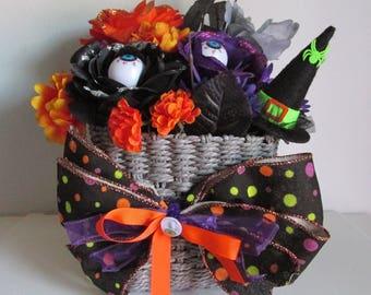 Halloween Themed Silk Flower Arrangement Centerpiece, featuring Eyeballs, a Witch Hat, and a Handmade Bow