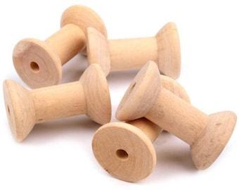 5 wooden bobbins de Karim powder approx. 30 x 48 mm nature