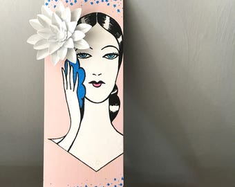 Vintage beauty wall hanging on pink painted wooden plague with white metal 3D daisy small blue flowers, birthday gift for her, bridal shower