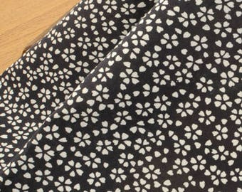 Black Cotton Fabric White Floral Fabric MT051