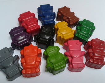 Robot crayons, set of 6, party favours, children's party, gift, upcycled