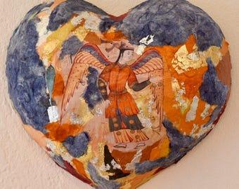 Wall art, wall sculpture, Heart art, wall decor, art wall, papier maché, wall panel, decorative wall, handmade, Christmas gift