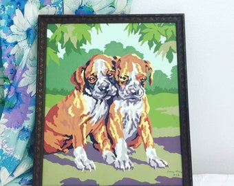 Vintage 1958 Paint By Numbers Boxer Puppies Painting