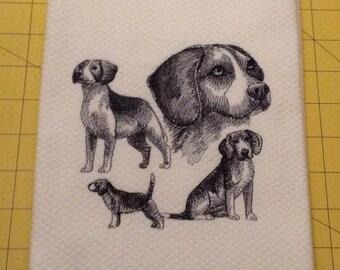 Beagle Collage Sketch Embroidered Williams Sonoma All Purpose Kitchen Hand Towel, 100% cotton, XL