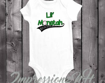 Boston Massachusetts Baseball Baby Onesie- Lil' Monstah cute onepiece baby shirt