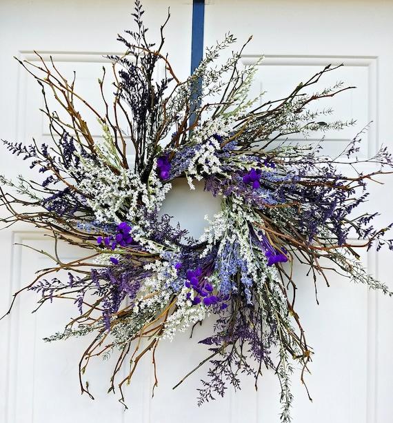 """twig wreath, 18 """" wreath, dried wreath, purple wreath, decorative wreath, natural wreath. dried flower wreath, salal wreath, small wreath"""