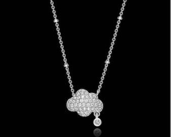 White Cloud Cubic Zircon Pendant Necklace WomenSimple Clavicle Chain