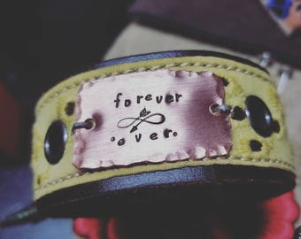 Forever Ever. Cuff Genuine leather upcycled belt cuff great anniversary gift or Valentines gift or Birthday gift