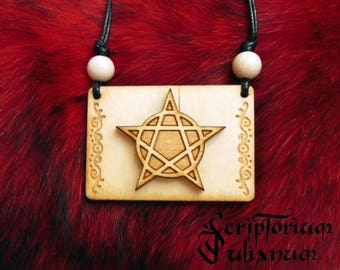 Wooden pentacle necklace, pentagram pendant, wiccan jewelry, witches pagan jewellery, wicca gift, pagan amulet, witchcraft, Imbolc gift