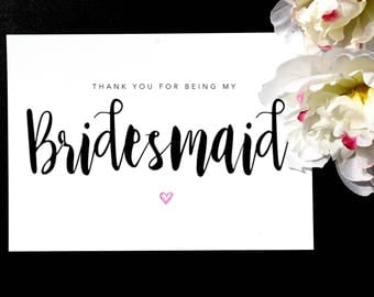 Pack of Thank You Bridesmaid Cards, Thank You For Being My Bridesmaid, Thank You Card, Card for Her, Wedding Card, Greeting Cards