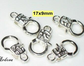 5 decorative carabiners Bright Silver 17 x 9 mm (k 110.22)
