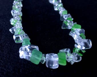 Green Agate, Clear Quartz & Sterling Silver Necklace