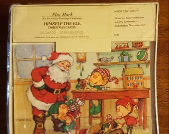 Vintage Christmas Cards SANTA ELVES Toyshop 1984 Plus Mark American Greetings 20 With Envelopes NEW