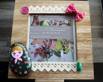 Wooden picture frame with Pebble box depicting a matryoshka nesting doll hand painted