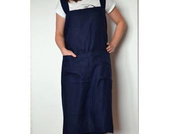 Long linen apron, japanese apron, apron with pocket, pinafore apron, linen apron, woman apron, square cross apron, artist apron, work apron