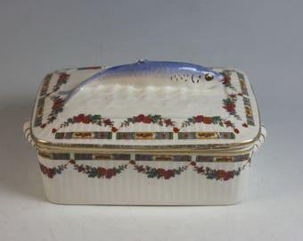 Antique French Porcelain Sardine Box