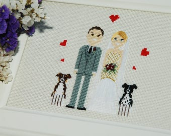 Cross stitch family portrait Gift for her Personalized gift 2nd anniversary Cotton anniversary gift Statement wife gift Pet portrait