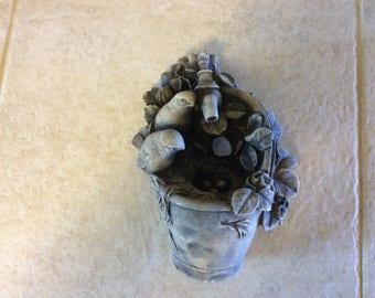vintage Cement Bird Decor, Very Detailed, Birds, Nest, Eggs and Foliage