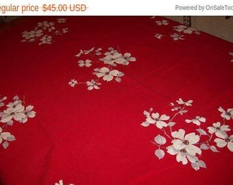 Red Wilendur with white dogwood vintage tablecloth