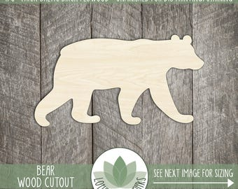 Wood Bear Laser Cut Shape, Wooden Bear, Bear Party Favor, Nursery Decor, DIY Crafting Supply, Many Shapes And Size Options, Laser Cut Outs
