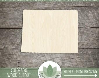 Colorado State Wood Cut Shape Shape, Unfinished Wood Colorado Laser Cut Shape, DIY Craft Supply, Many Size Options