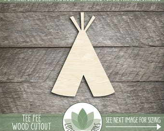 Wood Tee Pee Shape, Unfinished Wood Tee Pee Laser Cut Shape, DIY Craft Supply, Many Size Options, DIY Nursery Wall Art