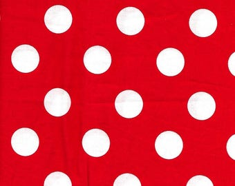 Cotton Fabric   Red/White Circles        FAT QUARTER