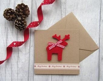 Christmas Card, Holiday Card, Reindeer Card, Rudolf Card, Xmas Card, Festive Card, Seasons Greetings, Merry Christmas