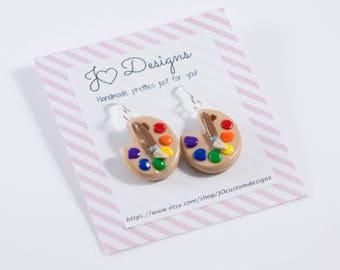 Art Palette Earrings, Artist Earrings, Art Earrings, Art Teacher Earrings, Teacher Earrings, Art Jewelry, Art Palette Jewelry, Artist Gifts