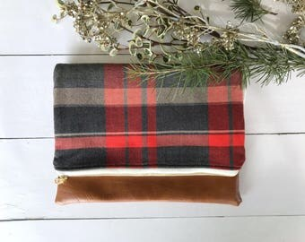 Black and Red Plaid Foldover Clutch | Large Foldover Clutch | Flannel Clutch