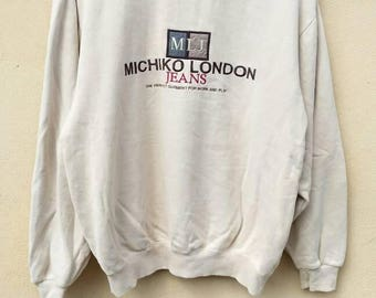 Vintage Michiko London Jeans sweatshirt big logo / Michiko London crewneck spell out / Michiko jumper embroidery