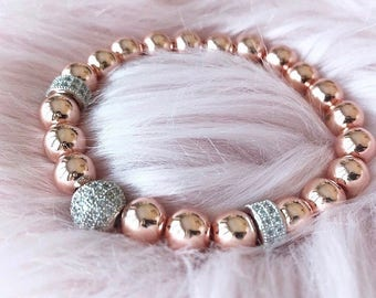 Rose gold hematite bracelet with pavé spacers