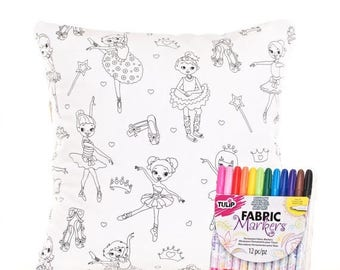 SALE ENDS SOON Ballerina Pillow Cover and Fabric Markers, Color Me Pillow Cover, Pillow Cover for Coloring, Mom and Daughter Activity, Inclu
