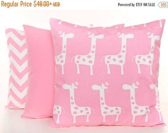 SALE ENDS SOON Pink Pillow Covers, Pink Nursery Pillows, Giraffe Pillow, Pink and White Pillowcases, Zig Zag Print Pillow, Solid Pink Pillow