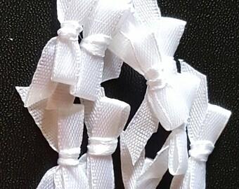Set of 10 small white satin bows