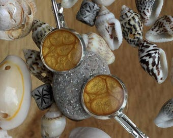 Beach sandy/apricot silver plated french lever back earrings. (Nickel & lead free)