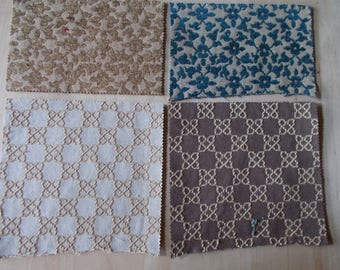 Fabric scraps of cloth set of 4 - fabric remnant set with 4 pieces